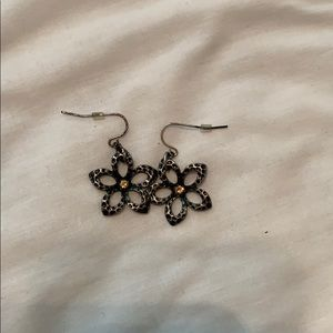 Rhinestone Plumeria Dangle Earrings